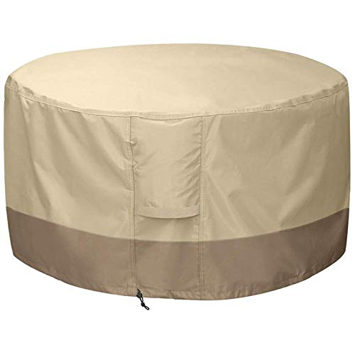 Andifany Fire Pit Cover Round-210D Oxford Cloth Heavy Duty Patio Outdoor Fire Pit Table Cover Round Waterproof Fits for 34/35/36 Inch Fire Pit Bowl Cover (36 Inch D x 24 Inch H,Beige+Brown)