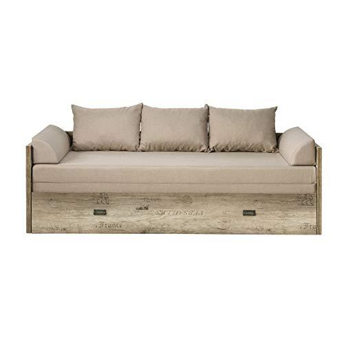 Malkolm - Sofá cama extensible 80/160 roble canyon con letrón/tungsteno/beige/sofá cama con canapé con función de dormir