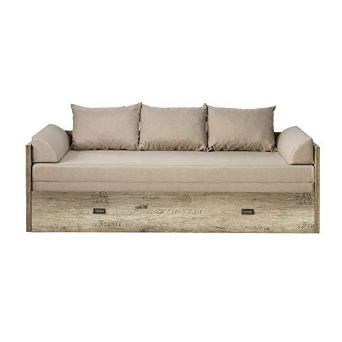 Malkolm Sofa Bed Extendible 80/160 Canyon Oak with Lettering / Tungsten / Beige Sofa Bed with Bed Box Couch with Sleep Function