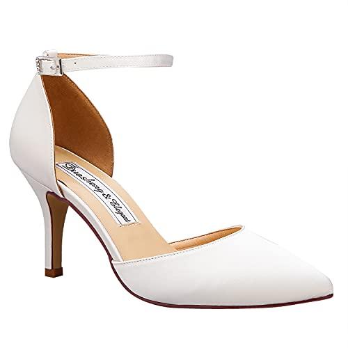 Duosheng & Elegant High Heel Pumps Satin Ankle Strap Riemchen Hoch Spitze Zehen Satin Partei Abendschuhe Hochzeitsschuhe Brautschuhe Ivory Gr. 38