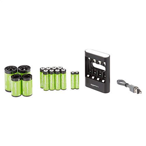 Amazon Basics - Set caricabatterie USB con batterie ricaricabili AA (confezione da 8), AAA (confezione da 2), compatibile con batterie C, D - Nero