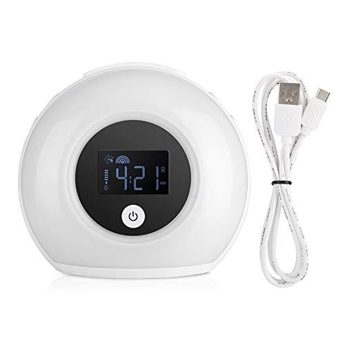 Wake-Up Light, 5 Color Mode Natural Wake Up Alarm Clock Night Light Bedside Lamp, Digital Modern Clock with Bluetooth Speaker for Kids, Bedrooms