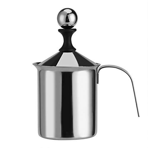 Manueller Milchaufschäumer, Hand-Milchaufschäumer, Edelstahl, mit doppeltem Netz, 400 ml/800 ml, für Latte, Cappuccino-Kaffee, Macchiato, heiße Schokolade(800 ML)