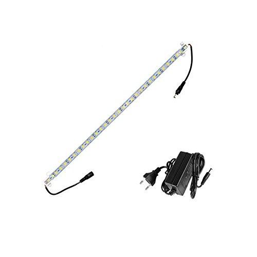 ECD Germany 1x LED Unterbauleuchte 100cm mit Netzteil 2A - 5050SMD 60 LEDs Kaltweiß 6000K 680lm - Unterbauleiste Lichtleiste Schrankleuchte Schrankbeleuchtung Küchenleuchte Küchenleiste Strip Streifen