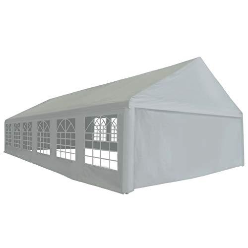 vidaXL Partyzelt PE 6x12m Grau Pavillon Festzelt Gartenpavillon Bierzelt