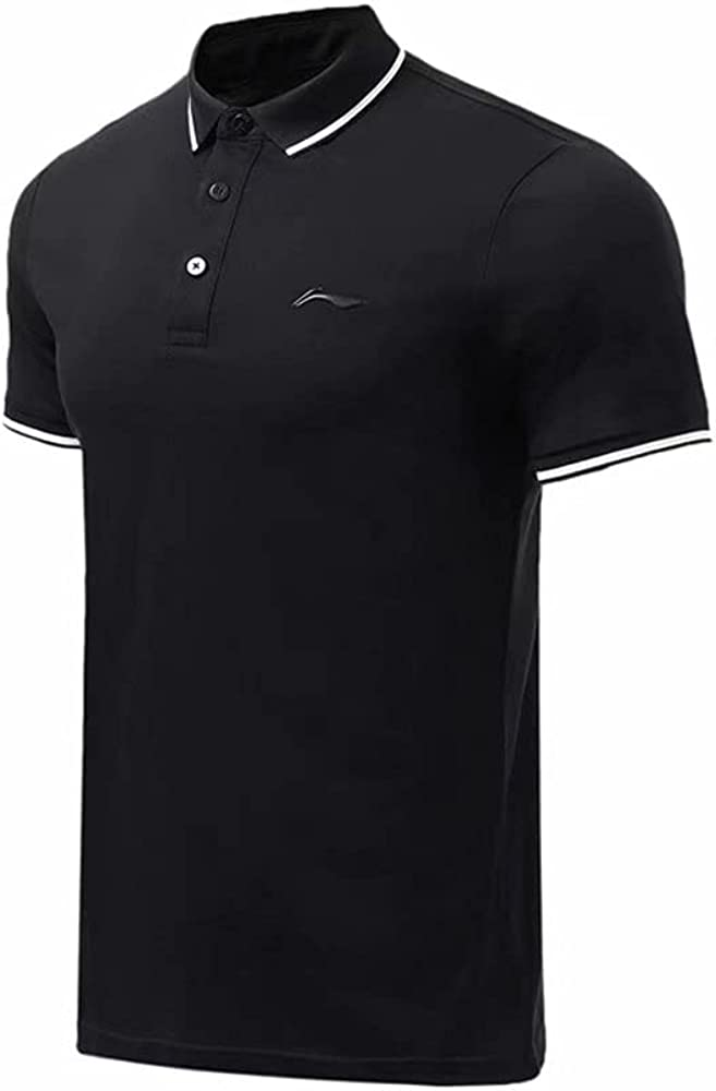 LI-NING Men Gym Training Polo 100% Cotton Regular Fit T-Shirt Buttons Lining Fitness Leisure Breathable Sport Tee Tops