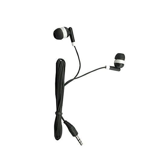 Wholesale Kids Bulk Earbuds Headphones Earphones 50 Pack Black Color for Schools, Libraries, Hospitals Individually Bagged