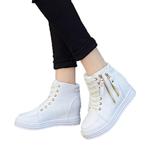 Oceansee Zapatillas de Deporte Mujer cuña Plataforma de Goma Cuero de Cuero con Cordones de Cuero Altos Zapatos de tacón Alto Punteado de Punta de Zapatillas de Deporte Blancas White 8