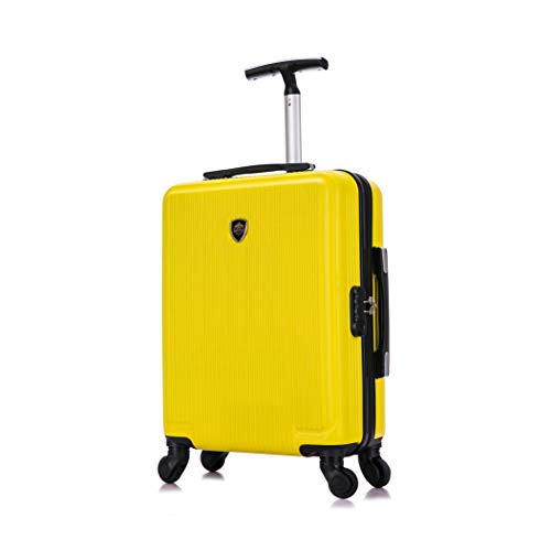 Toctoto 55x40x20cm Lightweight Ryanair Maximum Size Carry On Hand Cabin Luggage Suitcase, Bagaglio a Mano Unisex (Giallo)