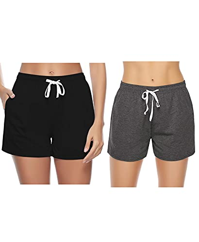 Sykooria Pantalones Cortos de algodón para Mujer, Cintura Suave con cordón Pijamas de salón Parte Inferior de chándal para Ropa de casa Correr Yoga Gimnasio