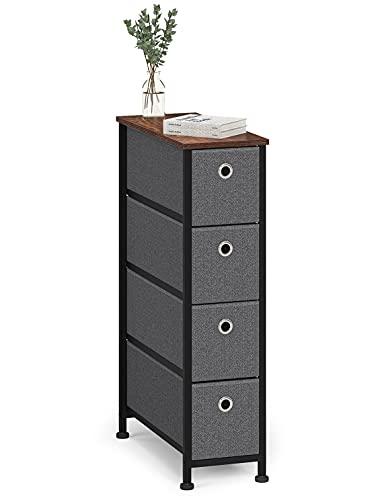 Cómoda Cajonera con 4 cajón Almacenaje Armario Comodas Cajones Estrecho Gabinete Pequeño para Trastero Salon Dormitorio Cocina Madera+Metal Negro+Gris