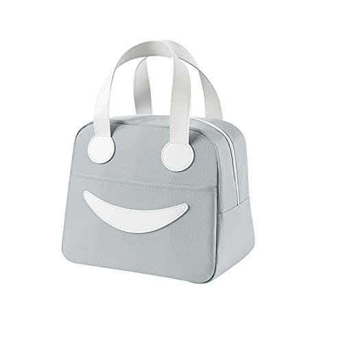 Fiambrera aislada para niños para niñas, bolsa de arco iris, reutilizable, para picnic, portátil, con aislamiento, bolsa térmica colorida grande con cremallera, organizador de almuerzo (Grey#)