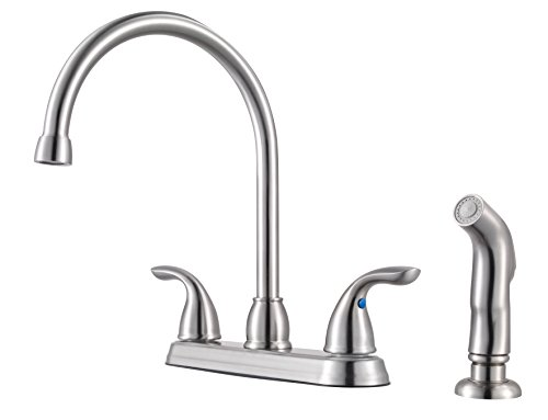Pfister G136-500S Series 2-Handle Kitchen Faucet with Side Spray, Stainless Steel