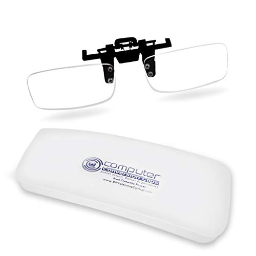 ClipOn Computer Reading Lens For Bifocal Age Desktop PC Users: New Half Clip Design is Lighter weight ClipOn/FlipUp; Clip Magnification STOPS Headaches and Eyestrain; Anti-glare Blue Blocker Coating.