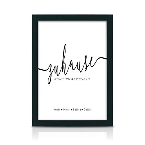 Zuhause Koordinaten Kunstdruck A4 ungerahmt als Einweihungsgeschenk oder Geschenk-Idee zum Einzug Einweihung Jahrestag Richtfest Umzug Wand-Bild Wand-Deko Weihnachten