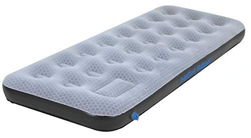 High Peak Unisex Single Comfort Plus Luftbett, mit integrierte Fußpumpe und Anti-Rutsch Funktion, atmungsaktiv, robust, Oberseite weich, für Indoor und Outdoor, grau/blau/schwarz, L