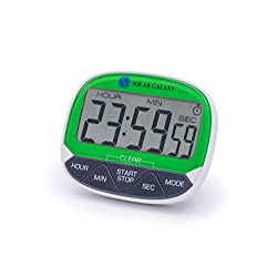 Solar Galaxy 24 HR Digital Kitchen Timer Alarm Clock, Magnetic Backing, Retractable Stand, Memory Function, 12/24-Hour Clock, Alarm Mode, (Single AAA battery not included)