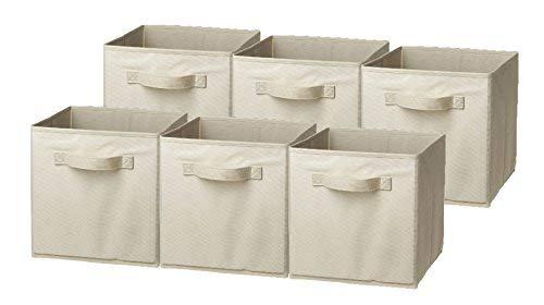 Sorbus Foldable Storage Cube Basket Bin, 6 Pack, Beige