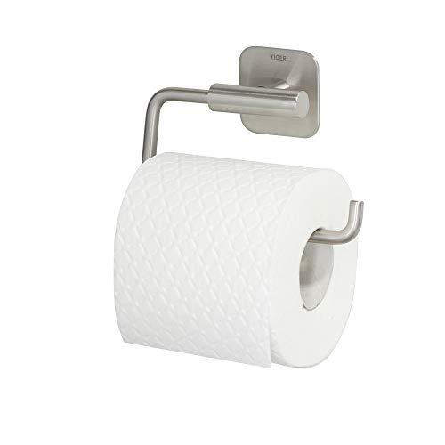 Tiger Colar Toilettenpapierhalter ohne Deckel, mit integrierter Klebefolie zur Montage ohne bohren, Edelstahl gebürstet