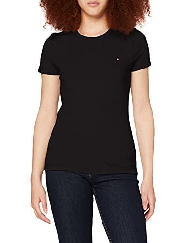 Tommy Hilfiger Damen Heritage Crew Neck Tee T-Shirt, Schwarz (Masters Black 017), Large (Herstellergröße: L)