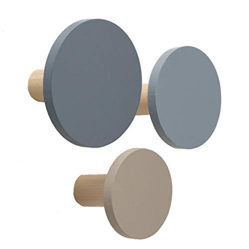 Spetebo Design Holz Wandhaken rund - 3er Set - Kleiderhaken Garderobenhaken Wand Garderobe