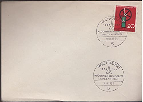 FGNDGEQN Sello Suministros Federal Alemania Occidental 1964 sello conmemorativo significativo invención encontrado vapor máquina primer día sello