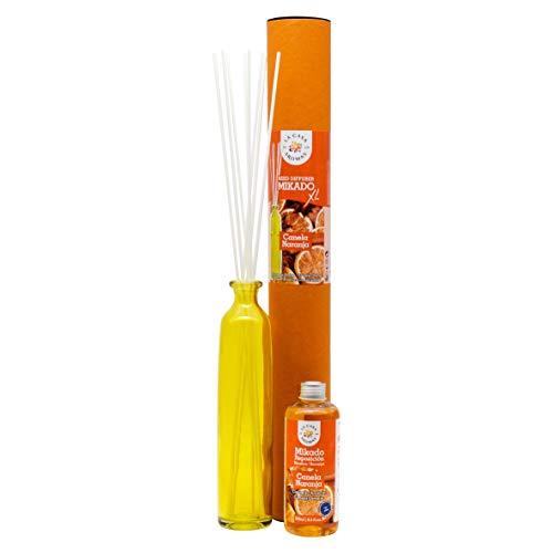 Ambientador Mikado XL con Varillas/Palitos, Difusor Líquido de Aroma Canela Naranja, Perfume Duradero para el Hogar, Baño, Casa - 250 ml