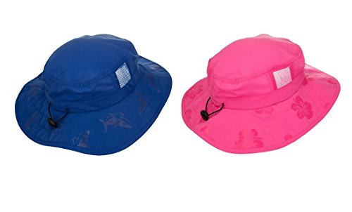 Kids  UPF 50+ Safari Sun Hat, Pink And Blue Flowers, Uv Sun Protective, Lightweight, Straps Selection (2 Pack Pink and Blue (One Each))