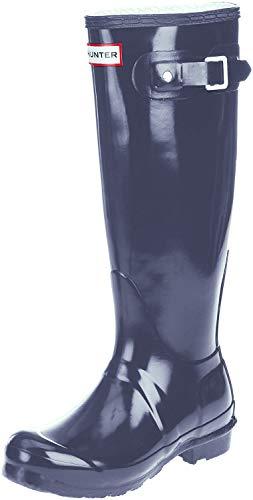 HUNTER Original Tall Gloss Damen Fest Gummistiefel Wellington Boots - Blau - 39