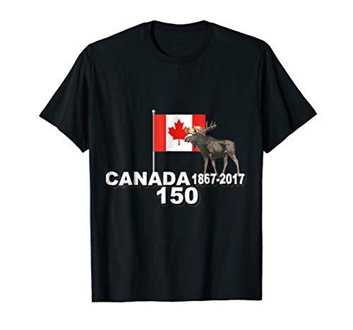 Canada 150 Years 1867-2017 Flag Deer Official Maple Leaf Tee