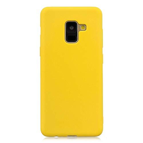 cuzz Funda para Samsung Galaxy A6 Plus+{Protector de Pantalla de Vidrio Templado} Carcasa Silicona Suave Gel Rasguño y Resistente Teléfono Móvil Cover-Amarillo