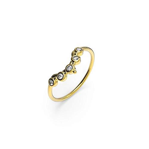 prettique Damen Ring aus 925 Sterlingsilber/Vergoldet (18 Karat) mit gefassten Zirkonia Steinen (farblos) – Goldring – Größe 52-54-56-58-60 – Geschenk