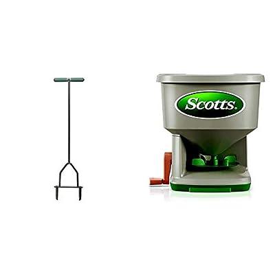 Yard Butler Lawn Coring Aerator Manual Grass Dethatching Turf Plug Core Aeration Tool ID-6C & Scotts Whirl Hand-Powered Spreader