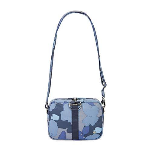 Pacsafe Citysafe CX Square Crossbody, kleine Umhängetasche, Schultertasche mit Diebstahlschutz, Orchideen Blau/Blue Orchid