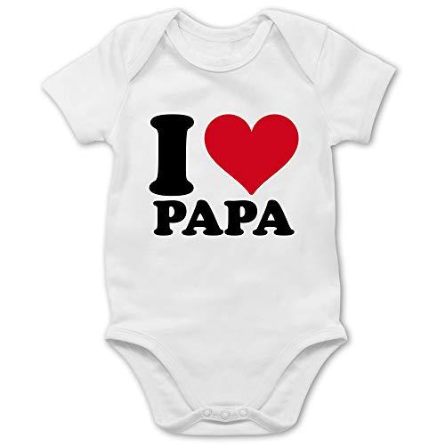 Shirtracer Up to Date Baby - I Love Papa - 1/3 Monate - Weiß - i Love dad - BZ10 - Baby Body Kurzarm für Jungen und Mädchen