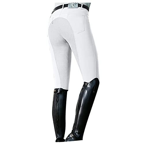 YUNDAN Women's Horse Riding Pants Breeches Exercise High Waist Slim Sports Riding Equestrian Trousers Yoga Leggings Tights White