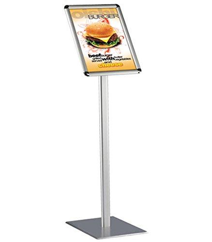 DISPLAY SALES espositore da terra DIN A4 classico Rondo. supporto per poster da pavimento con design premium, colore argento (1m altezza totale).