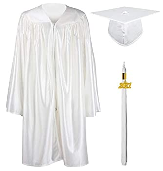 GraduationMall Shiny Kindergarten & Preschool Graduation Gown Cap Set with 2021 Tassel White 33 4 0 -4 2