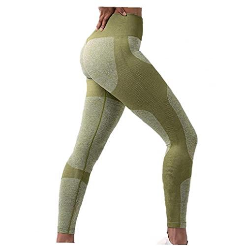 Eaarliyam Mujeres de la Yoga de los Pantalones de Las Polainas Fitness Sports Running Butt elevación de Talle Alto luz Verde S