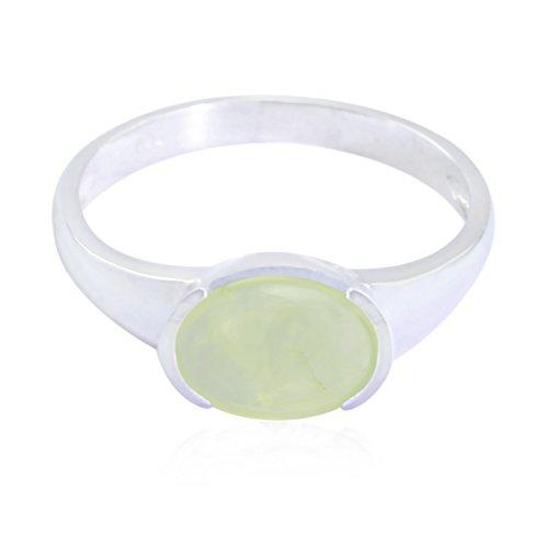 rgpl - echte Edelsteine ovaler Cabochon-Prehnit-Ring - Sterlingsilber-Gelb-Prehnit - echter Edelstein-Ring - Zuhause & Wohngeschenk für Ehemann-Solitär-Engagement