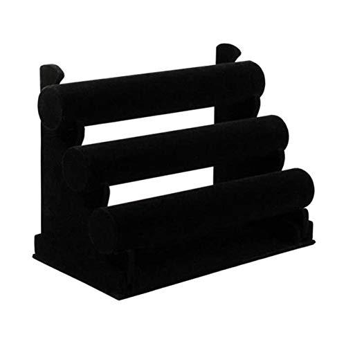 Kongqiabona-UK - Pulsera expositor, soporte de tres capas, color negro, terciopelo de madera, joyas, expositor, pulsera, reloj, expositor, organizador de almacenamiento