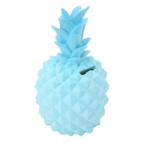 Caja de dinero, figuras de resina en forma de fruta, estatua, caja de ahorro multifuncional para niños, adornos, azul claro, 9.1x3.1in