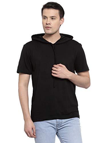 Friskers Men Black Short Sleeve Round Neck Solid Cotton Hooded T-Shirt