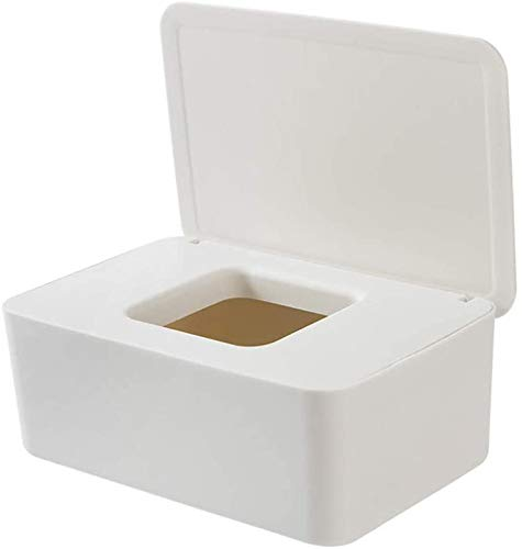 Caja de pañuelos húmedos, dispensador de pañuelos, caja de almacenamiento para toallitas con tapa impermeable al polvo, para casa, oficina (blanco)