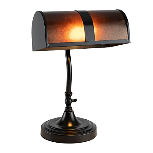 Lavish Home A1000830 Bankers Lamp-Mission Style Amber Mica Shade Table or Desk Light LED Bulb Included