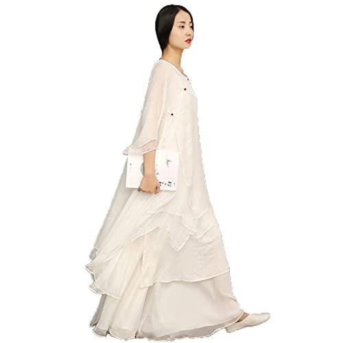 Verano estilo chino mejorado Hanfu Sets Retro Mujeres Maxi Vestido Tradicional Danza Traje Princesa Escenario Trajes