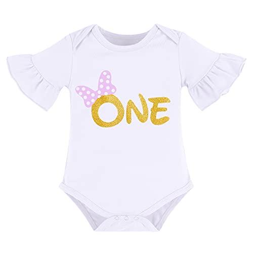 FYMNSI Conjunto de 3 Piezas para Recién Nacida Bebé y Niña, para Primer Cumpleaños Princesa Vestido, Mameluco de Manga Corta + Falda de Tutú + Diadema Violeta 1 año