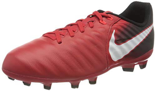 Nike JR Tiempo Ligera IV FG, Scarpe da Calcio Unisex-Bambini, Rosso università Rosso Bianco Nero 616, 36.5 EU