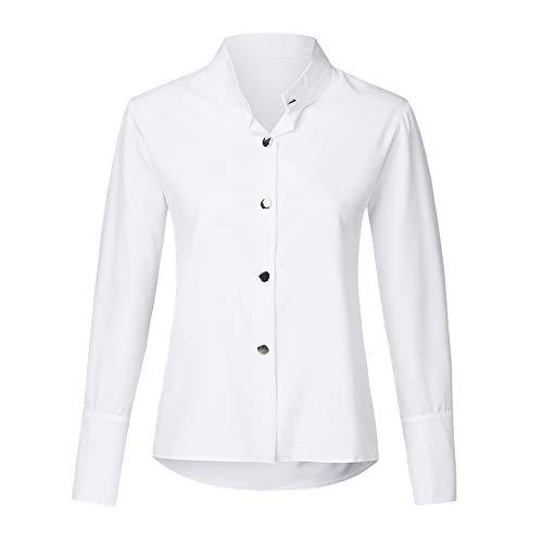 Blusa de mujer cuello redondo manga larga botón de metal sólido casual blusa mujer Tops blanco