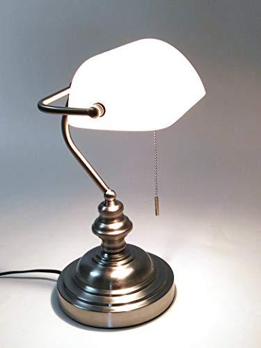 Tischleuchte Bankerslamp mit Zugschalter Fassung E27 Bankerlampe Schreibtischleuchte Arbeitsleuchte Nachtischlampe Tischlampe Nostalgielampe (nickel-weiß)